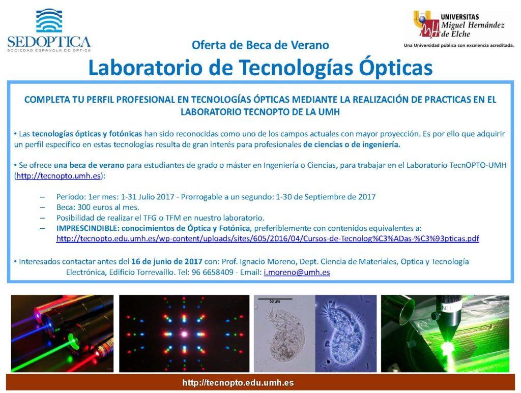 Oferta Beca de Verano en Lab Tecnologías Ópticas - 2017